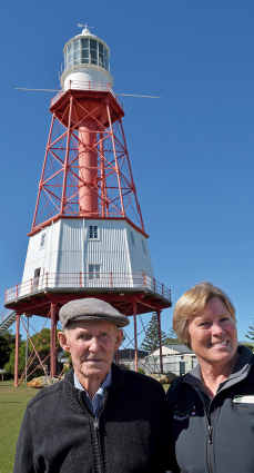 Australia Day honours recipients Alison Stillwell and Frank England outside the Cape Jaffa Lighthouse