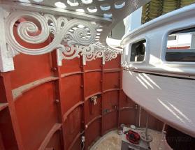 The ornate steelwork of the lantern room freshly painted.
