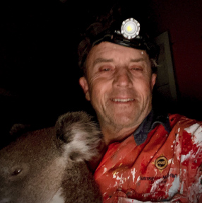 """The """"Restorer"""" (and part time Koala rescuer) Mark Sheriff OAM and his furry friend."""