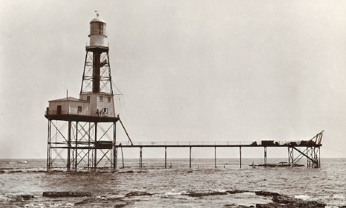 Cape Jaffa Lighthouse pictured in 1910 after it was built out to sea.